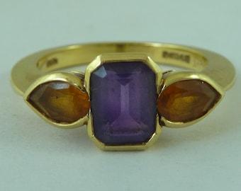 Garrard 18 Carat Yellow Gold Amethyst Citrine Gem Set Ring London 1996 Vintage