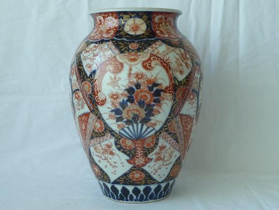 Large Antique Japanese Imari Vase Meiji Period Porcelain Fans Etsy