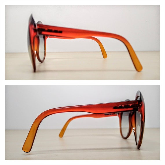 Vintage Viennaline 1128 Optyl Red Amber Oversized… - image 7