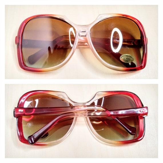 Vintage Oversized Garnet Red Gradient Sunglasses … - image 7
