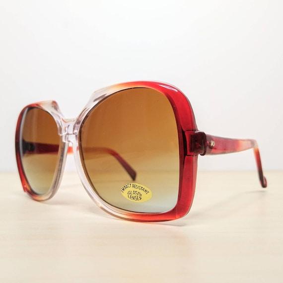 Vintage Oversized Garnet Red Gradient Sunglasses … - image 3