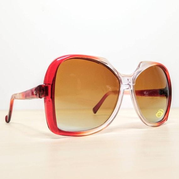 Vintage Oversized Garnet Red Gradient Sunglasses … - image 5