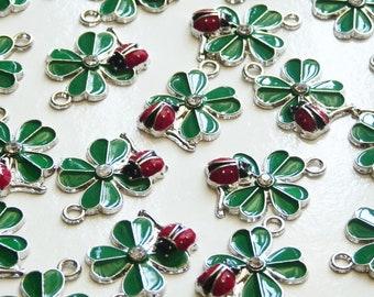 Clover Ladybug Symbol Lucky Martisor Bracelet St Partrick Handmade Red /&White