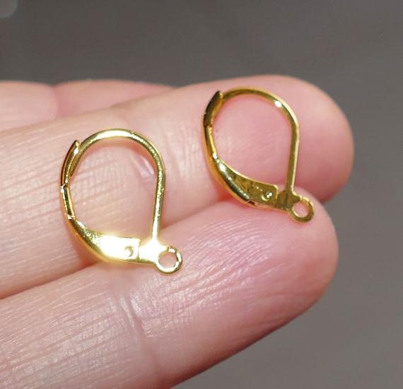 20x Brass Earring Hook Ball Gold Plated Jewelry Accessory Women Lady Ear Finding