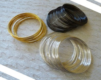Memory Wire Bracelet, Bracelet Wire, 0.6x60mm Gold Silver Black Color Round Memory Steel Wire, Wire Wrap Bracelet, Beading Wire