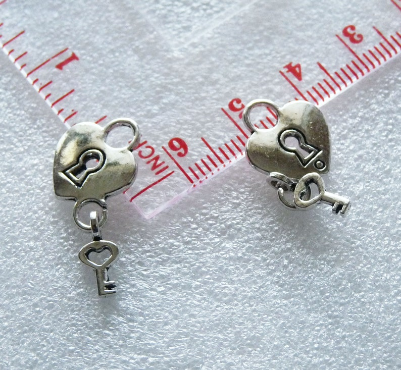 Heart Lock and Key Charm Antique Silver Tone Padlock Charms C386 Charms for Bracelet Small Key Charms 3D Lock Charms