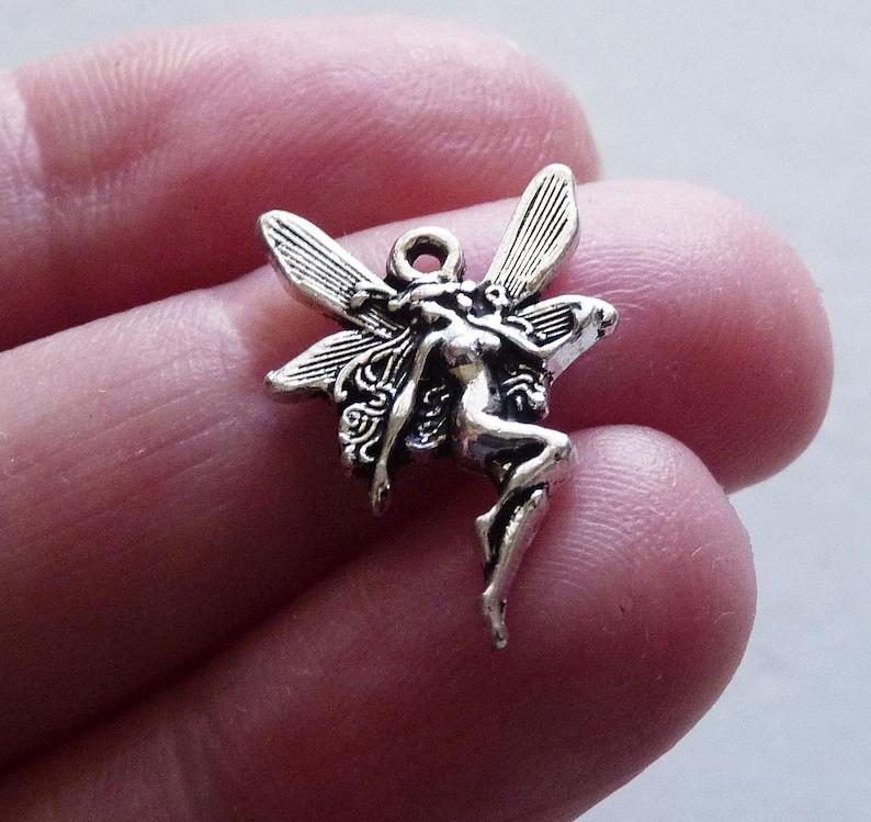 Antique Silver Tone Fairy Necklace Pendants D339 20x Fairy Bulk Angel Charms for Bracelet