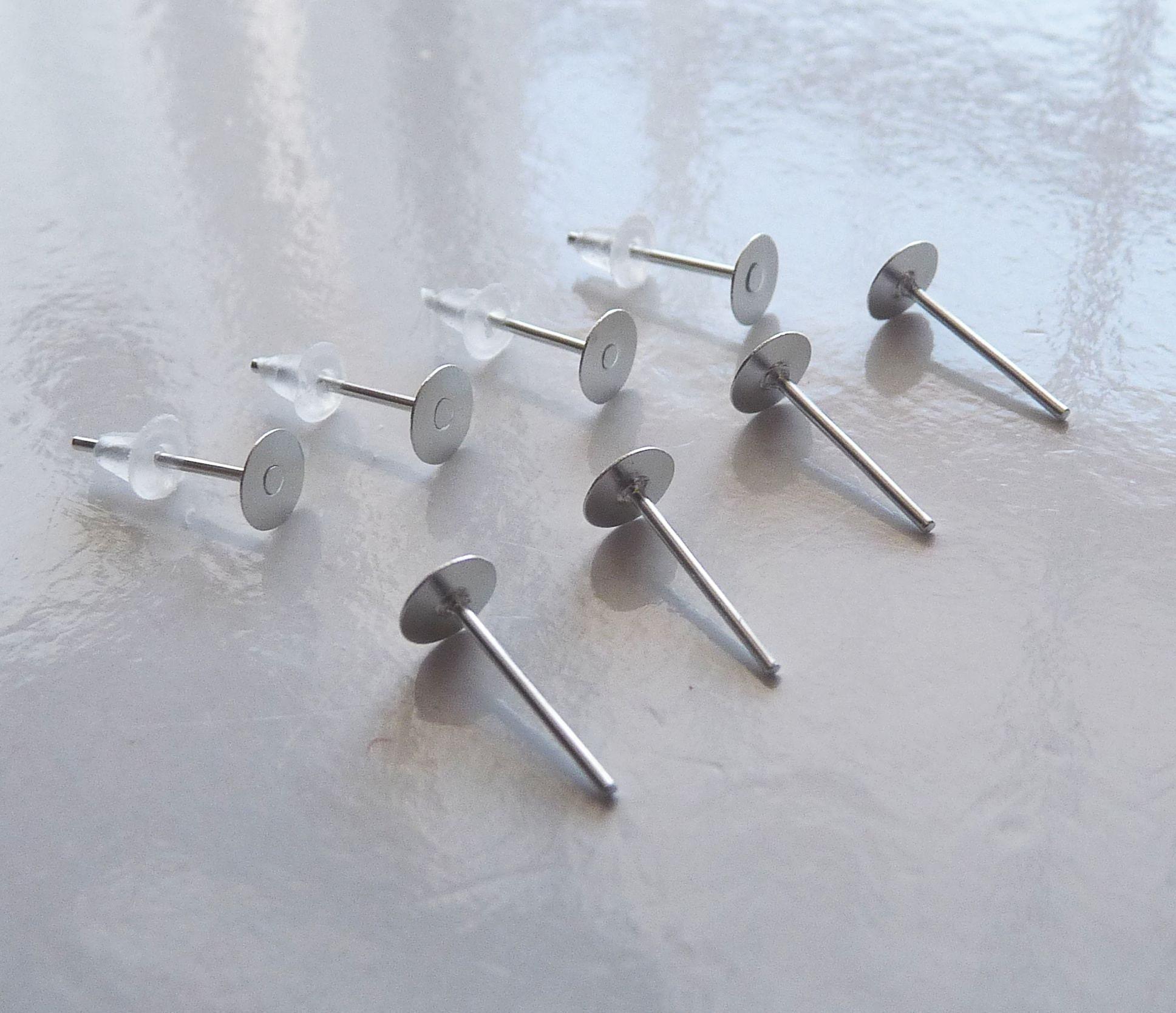 dcc45206a Hypoallergenic Earring Stud 4mm Flat Back Earring Stud | Etsy