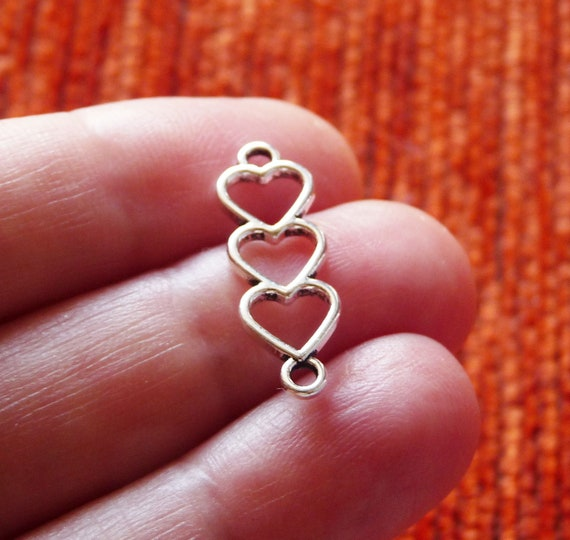 10 Heart Charms Connector Links Open Heart Pendants 2 Hole