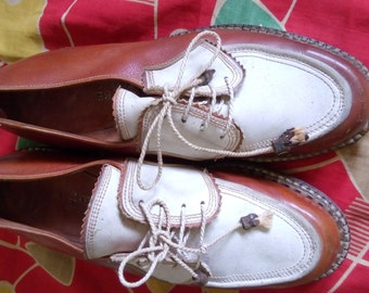 5d336f5be6c58 chaussures bicolore 1950s marque grade skipper tout cuir !!!