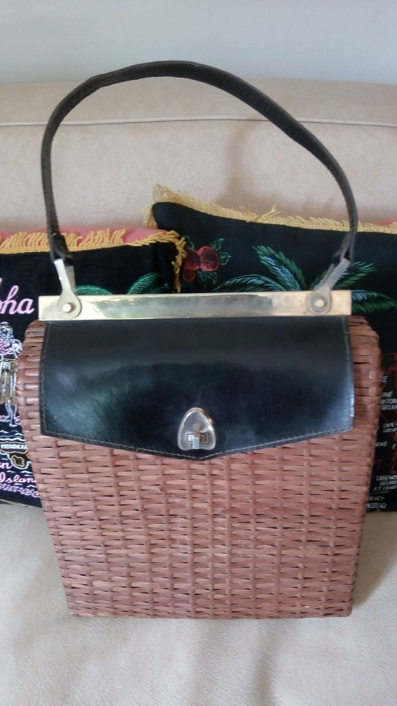Large wicker and leather bag 1950s !!!