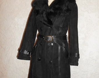 completely filled suede leather coat! Black