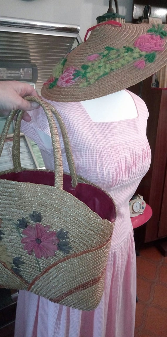 French trend Riveria 1950s pink gingham dress Brig
