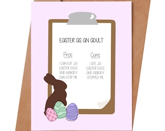 Funny Easter card - Pros and Cons of Easter  - Funny card for Easter - Funny parenting card - Easter gift - Easter decoration