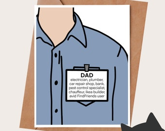 Funny Birthday Card for Dad - Funny Fathers Day Card - DAD ID TAG - Father's day gift - Gift for dad - Dad birthday gift