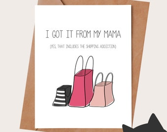 Mother's Day Card Birthday Card for mom - SHOPPING PROBLEM - Birthday Card for Mom -  Dispo en FRANÇAIS - Gift for mom