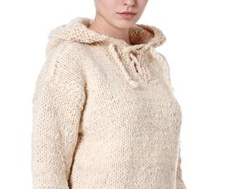 Unisex Hooded Jumper, Handmade Artisan Woollen Jumper, Chunky Knitwear, Stay Warm this Winter, Scandi, Moroccan, Wool, Aran, Knitted, Hygge