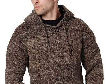 Unisex Handmade Artisan Woollen Hooded Jumper, Chunky Knitwear, Stay Warm this Winter, Scandi, Moroccan, Wool, Aran, Knitted, Hygge