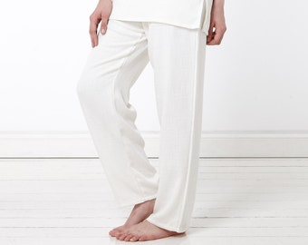 Cream Linen Trousers Relaxed Fit Wedding Yoga Pants Beach Casual Men's Women's Festival Luxury Boho Hygge Hippy Kundalini Holiday Vacation