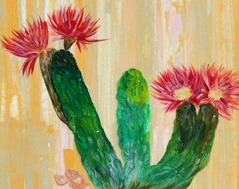 Cactus Flower Acrylic Painting
