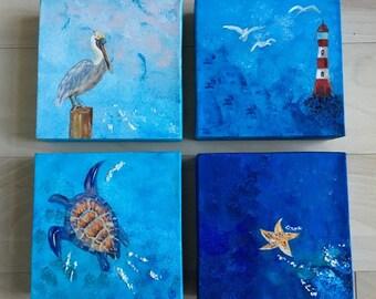 Ocean Feeling Paintings Set of 4