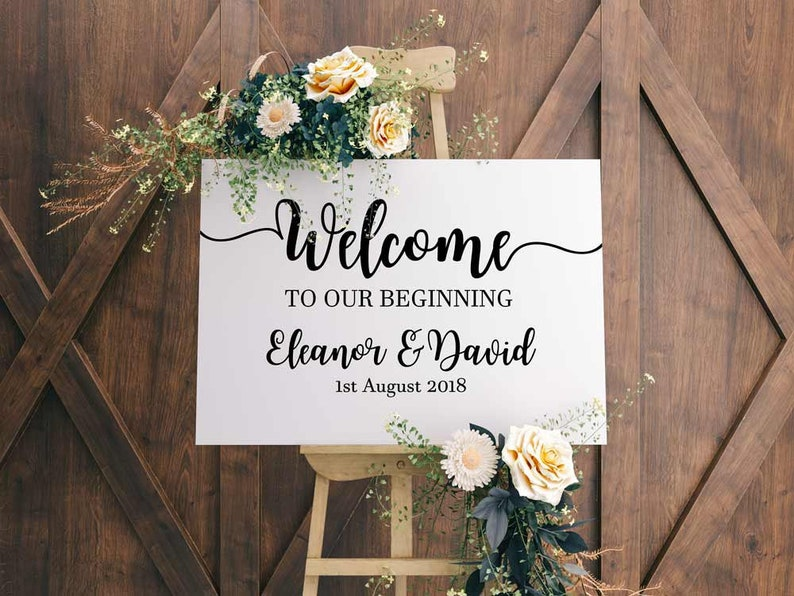 Welcome To Our Beginning, Name & Date  Vinyl Decal - Personalise your  wedding sign with easy to apply stickers  White, Black, Gold, Silver