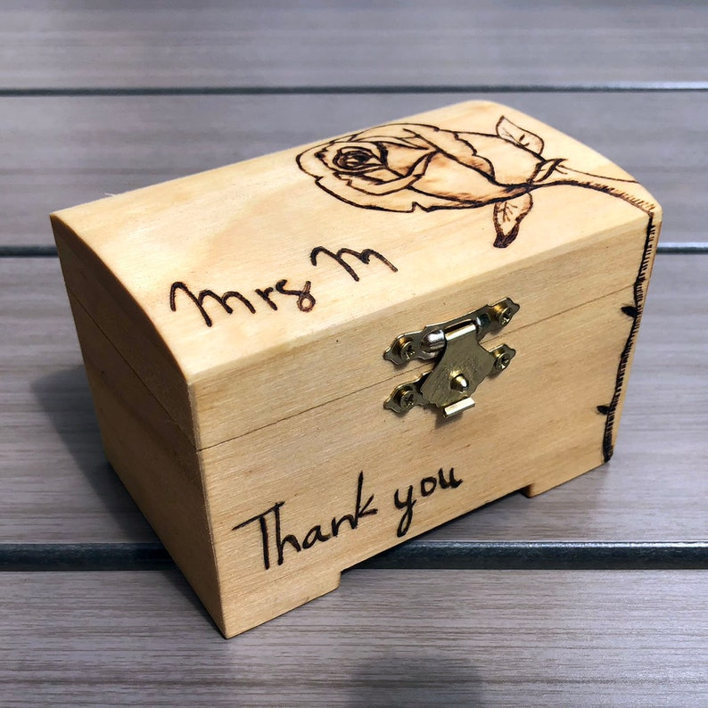 Mini Wooden Chest with Rose Motif | Small Wood Box decorated with a rose |  Pyrography decorated wooden trinket box | Personalised box