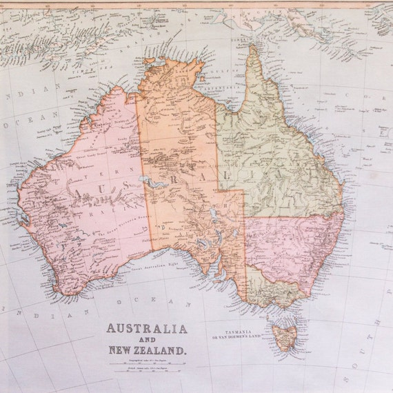 Australia Travel Map.Personalised Australia Travel Map Vintage Australia Map Australia Map Hanging