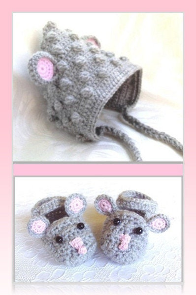Crochet Baby set Mouse and Newborn Baby set shoes and Mouse hat Gray baby booties slippers Animal Baby set Baby shower gift crochet baby gift unisex 34dcb2