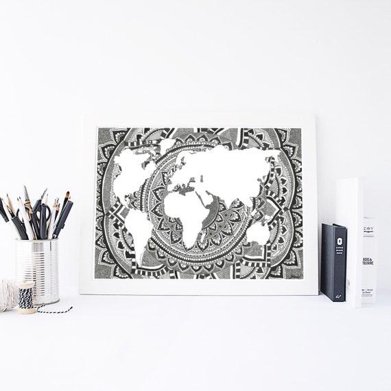 World map world map print mandala wall art wall art etsy image 0 gumiabroncs Choice Image
