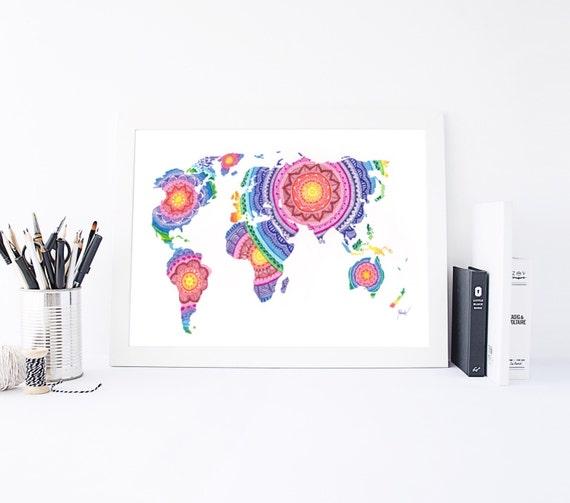 Items Similar To World Map World Map Print Mandala Wall