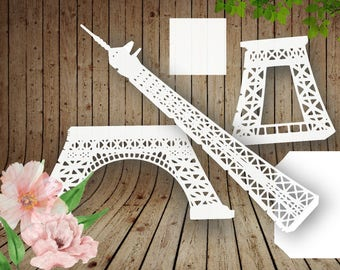 TOWER EIFFEL PARIS 3D Template cutting .svg, .dxf, .eps, .png, .pdf. Laser cut pattern Instant Download Cameo