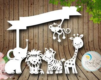 Animal Safari SVG DXF PNG pdf Design - Papercutting Vinyl Template Commercial Use - train papercut - nursery papercut - new baby papercut