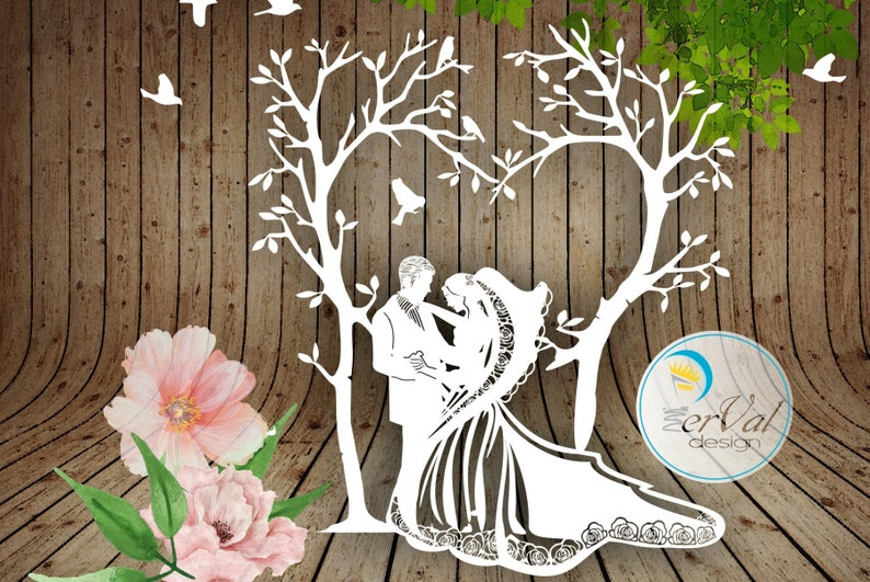 Wedding Couple Tree Design Svg Dxf Png Pdf Studio3 - Papercutting Template  to print and cut yourself
