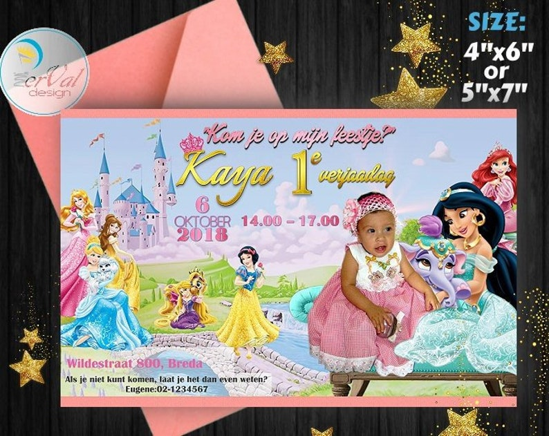 Disney Princess Invitation Personalized All Girl Birthday Party Belle