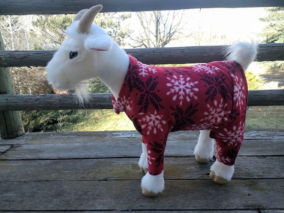 Red Reindeer Pajamas Pajamas for Goats Goat Pajamas Fleece Pet Pajamas Pet Pajamas Handcrafted Pajamas