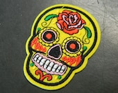 Colorful Yellow Red Flower Sugar Skull Iron On Embroidery Patch - Costume Flair Sugar Skull Iron-On Patch - Iron On Clothing Costume Patch