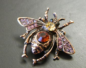 Pewter Rose Gold Wasp   Rhinestones Brooch Pin - Retro Pewter Pink Crystals  Rhinestones Wasp Insect Woman s Brooch - Costume Bling ec6784ce1f70