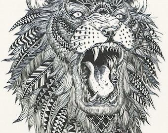 ff3561069 Big Black & White African Tribal Lion Temporary Tattoo - Lion Temporary  Tattoo Costume Accessories - Costume African Lion Temporary Tattoo