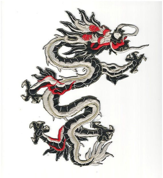Chinese Dragon green and white Iron//Sew on Embroidered patch UK Seller