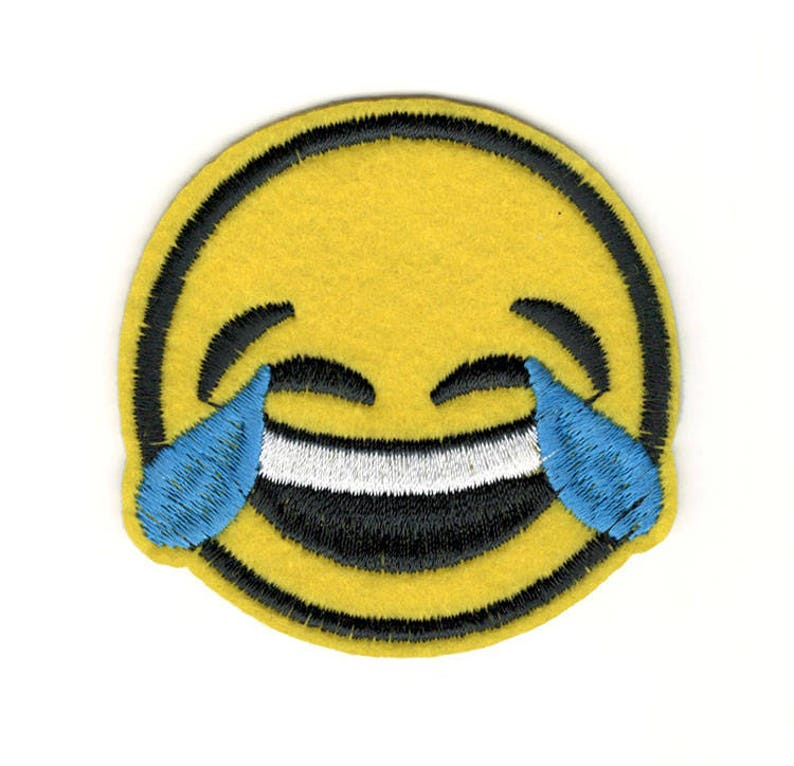 emoji Embroidered PATCH//BADGE Face with tears of joy