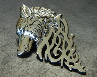 Silver Decorative Dire Wolf Lapel Pin - GoT Stylized Stark Banner Man Pin - Silver Wolf Costume Lapel Pin KY48