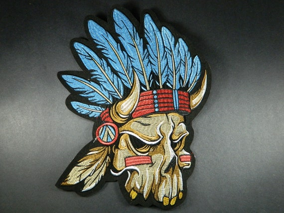 1970s Large - Vintage Motorcycle 9.5 Inches x 7.5 Inches Native American Chief Hand Stitched Back Patch