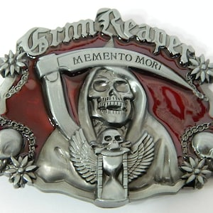 Etched Metal Great Gift To Keep The Grim Reaper Away Made in USA Cheat Death Custom Metal Belt Buckle Made In The Shape Of A Coffin