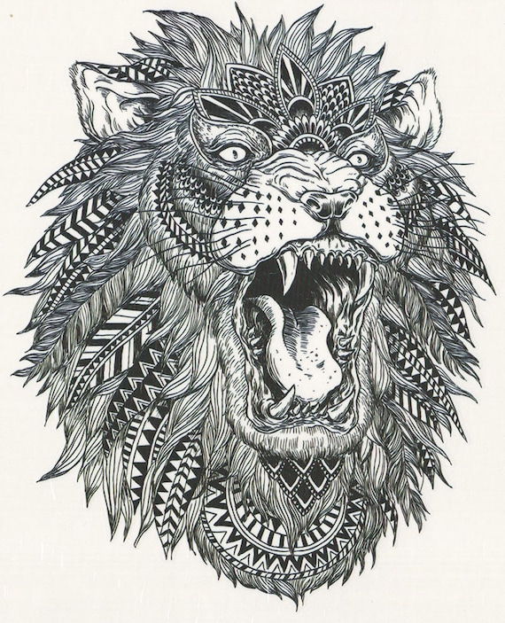 fcf0303bf Big Black & White African Tribal Lion Temporary Tattoo Lion | Etsy