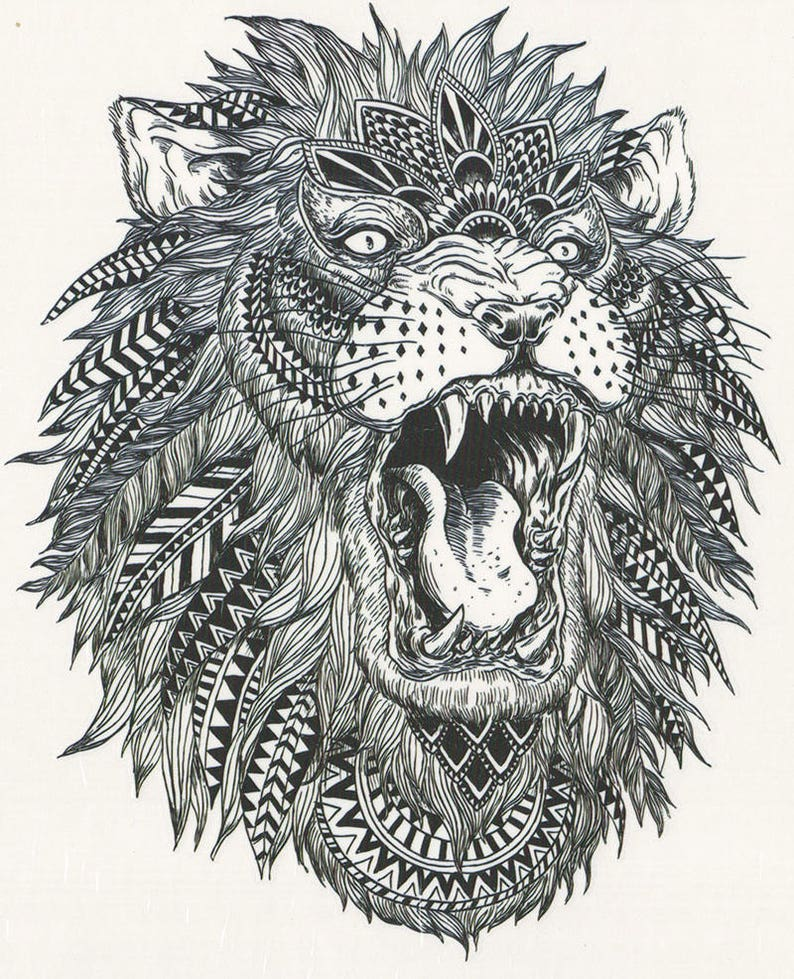 9e28400ef Big Black & White African Tribal Lion Temporary Tattoo Lion | Etsy
