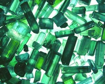 Tourmaline crystals green blue 3-10mm small pieces 25 carat lot