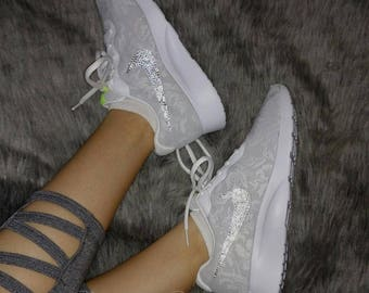 pretty nice 95652 e02f0 ... inexpensive swarovski bling nike womens tanjun eng shoes with crystal  rhinestones custom running tennis shoes authentic