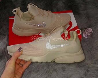 8b392f360 Swarovski Bling Nike Presto Fly Women s Nike Shoes Beige Custom with Swarovski  Crystal Rhinestones