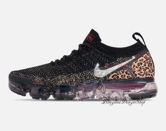 Swarovski Leopard Nike Shoes Vapormax Flyknit 2 Womens Shoes Customized  with Crystal Swarovski Rhinestones Bling Nike Shoes 4d88985b8c13